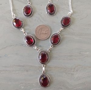 Beautiful red garnet stamped 925 set